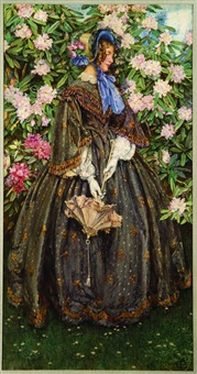 victorian lady standing before a large rhododendron by eleanor fortescue-brickdale
