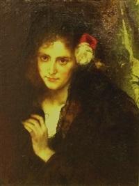 brustbild einer jungen dame mit schwarzem schleier und blumen im haar by august wilhelm sohn