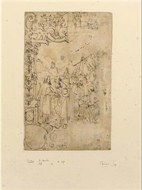 study for a stained glass panel, with episodes from the lives of the apostles by daniel lindtmayer the younger