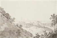 view from the higher hill, colgong, on the ganges by thomas daniell