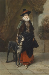 bildnis einer dame im historisierenden kostüm mit dogge by friedrich august von kaulbach