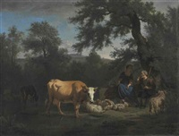 a wooded river landscape with cattle watering and a shepherd and shepherdess resting beneath a tree by adriaen van de velde