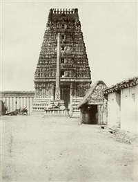 views of temples in mysore (3 works) by william henry pigou