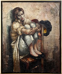 sad seated clown by bernard locca