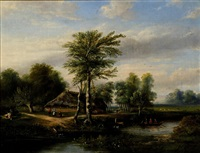figures near a farm in a landscape abound with trees by hermanus jan hendrik rijkelijkhuysen