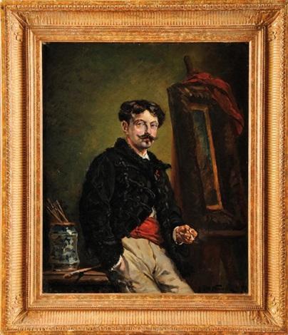 autoportrait en dolman noir dans son atelier by alphonse marie de neuville