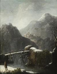 paysage de neige à la rivière animé de promeneurs by jules cesar denis van loo
