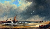 coastal scene with figures and boat by warner gyselman