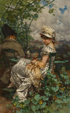 afternoon tea in the garden by frederik hendrik kaemmerer