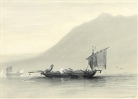 pêcheur tirant ses filets by jules achille noel