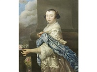 portrait of a lady, three-quarter-length, in a white dress and blue shawl, with a pearl necklace, holding a rose by isaac luttichuys
