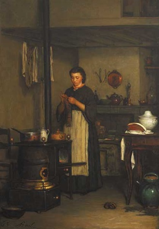 kitchen interior with young woman knitting by antoine jean bail
