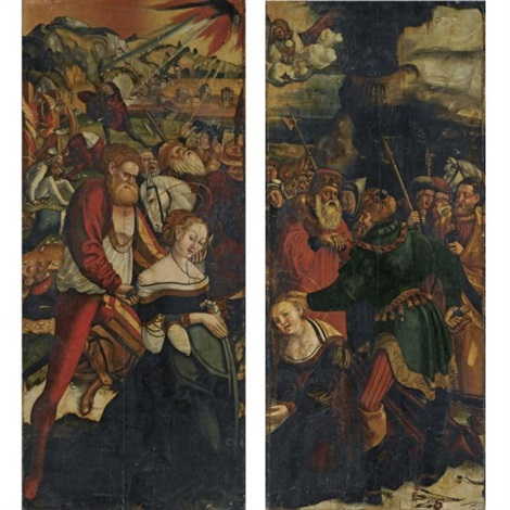 altarpiece the martyrdom of saint catherine the martyrdom of saint barbara pair by danube school 16