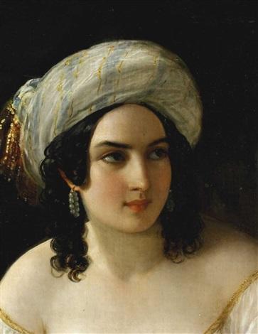 junge frau mit turban odalisque by natale schiavoni