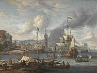 a capriccio of a mediterranean harbour with a dutch three-master disembarking by abraham jansz storck