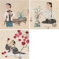 仕女 (三帧) (3 works) by ma xiaojuan
