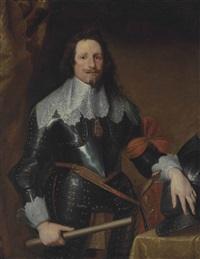 portrait of prince francis thomas of savoy-carignano (1596-1656), three-quarter-length, in armour and a white lace collar, holding a baton, his left hand on his helmet by sir anthony van dyck