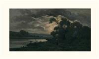 paysanne aux bords de la rivière au clair de lune by r. t. stuart