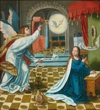la récolte de la manne et l'annonciation (pair) by pieter (kunst) cornelisz
