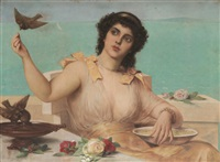 jeune femme nourissant les oiseaux devant la côte by léon herbo