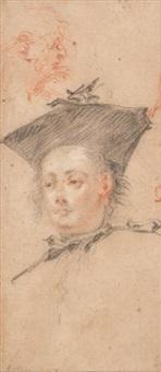jeune homme en tricorne et tête de vieillard de profil by jean antoine watteau