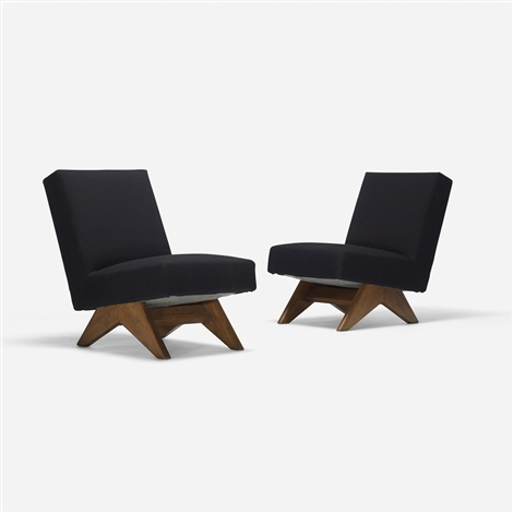 pair of lounge chairs from punjab university chandigarh pair by pierre jeanneret