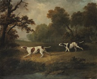 two setters in an extensive landscape by dean wolstenholme the elder