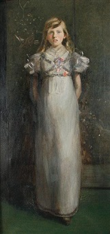 portrait of a girl wearing a white dress by charles e. ritchie