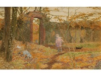 a young girl walking her cats in the secret garden by minnie smythe