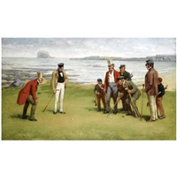 lord rosebery, admiral fleming, the duke of buccleuch and lord charles hope with their respective caddies at north berwick by john charles dollman