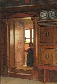 a little boy from amager in a doorway. interior from jan wybrandtsen's farm in st. magleby, now at the nationalmuseet (national museum of denmark) by johann julius exner
