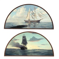 the whale hunt: towing back (+ sailing home; pair) by john p. benson