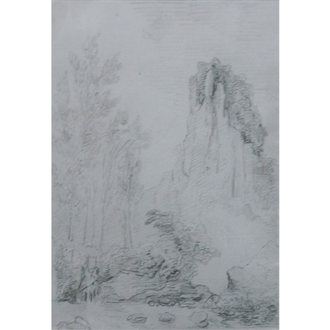 study of a rocky outcrop and rocky landscape with a small dam 2 works by hubert robert
