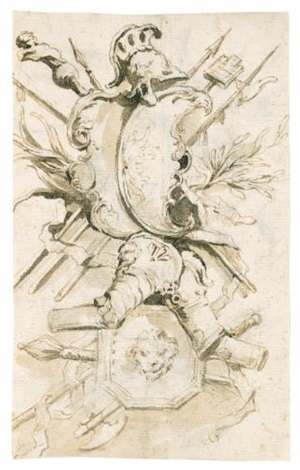 study for a trophy with two shields surmounted by a helmet, pieces of armor and arms, a third shield decorated with a lion's head; study for a trophy (recto-verso) by francesco guardi