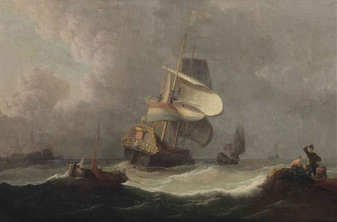 dutch warships off the coast in stormy weather by ludolf backhuysen the elder