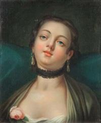 jeune fille au corsage décoré d'une rose by pietro antonio rotari