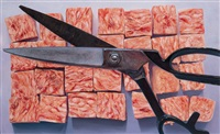 a pair of scissors and scattered pieces of meat by keitoku toizumi