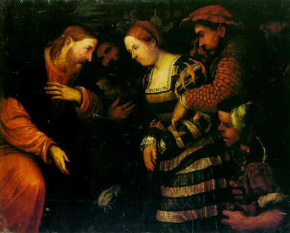 christ and the woman taken into adultery by romanino (girolamo romani)