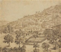 a view of a village on a hillside, with a terraced and walled garden in the foreground by remigio cantagallina