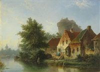 a view of a river with houses on the bank by adrianus eversen