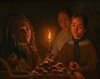 les marchandes de fruits à la lueur de la chandelle by belgian school (19)