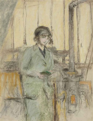jeune fille en vert debout dans latelier by edouard vuillard