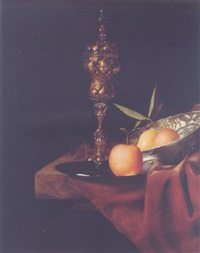 a gilt cup and cover, a lemon and an orange in a wan-li dish, an orange on a pewter plate and a roemer on a marble ledge by christian striep