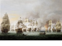 the battle of trafalgar, 21st october 1805 - nelson's flagship victory and téméraire in close action with the french rédoubtable as the battle rages around them by thomas luny