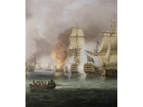 the battle of trafalgar 21st october 1805 nelsons flagship victory and téméraire in close action with the french rédoubtable as the battle rages around them by thomas luny