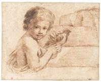 junger bub mit einem hahn vor einer steinmauer by guercino