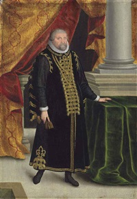 portrait of johan georges, elector of brandenburg (1525-1598), small full-length, in black robes with gold embroidery and a ruff by zacharias wehm
