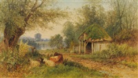 landscape with cottage and livestock by albert fitch bellows