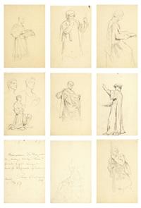 8 kart ze szkicami do historii złotego runa (8 works) by sigismund ajdukiewicz