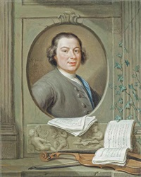 portrait of anton wilhelm solnitz (c. 1708-1752), in a sculpted niche, with a violin and musical scores by hieronymus van der mij